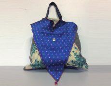 Shopper bag con tasca in cotone made in Italy realizzato a mano.